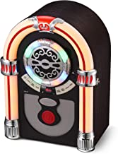 UEME Retro Tabletop Jukebox with CD Player, Bluetooth, FM Radio, AUX-in Port and Color Changing LED Lights
