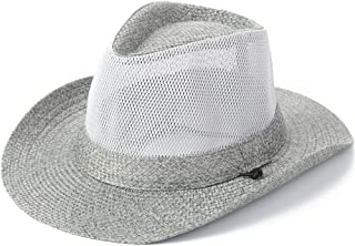 YXSDD Sun Hat, Men's Summer Outdoor Travel Mesh Breathable Sun Hat Visor Wide Eaves Beach Hat with Chin Band (Color : Gray)