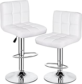 HEALTH LINE MASSAGE PRODUCTS Heavy Duty Bar Stools, Bar Counter Kitchen Height Adjustable Stools with Back White Set of 2 Swivel