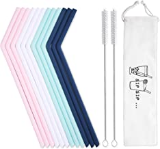 12 Pack Reusable Silicone Drinking Straws with Case - Regular Size - Long Flexible Straws for 20oz and 30oz Tumblers, 2 Cleaning Brushes Included