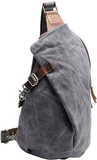 Gewachste Schultertasche, Umhängetasche, Segeltuch, wasserdicht, für Reisen, Brusttasche, einzelne Schultertasche