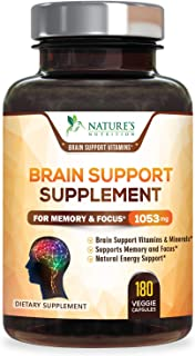 Brain Supplement 1000mg - Premium Nootropic Brain Support - Made in USA - Naturally Supports Focus and Clarity, Helps Memo...