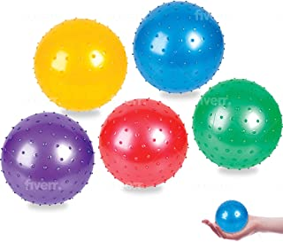 HOWBOUTDIS 7 inch Inflatable Knobby Balls- Assorted Colors- 5-Pack- Fun Game Ball- Indoors and Outdoors- Bright Colors-Age...