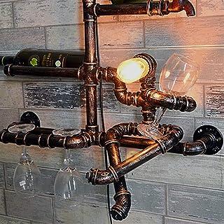 XUSHEN-HU Retro Industrial Lighting Sconce kreativa personlighet väggmonterade Water Pipe Hylla Wine Rack Wall Light Vinta...