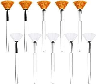 Fan Mask Brushes 10 pcs, Facial Mask Applicator Brush,Soft Fan Brushes Acid Applicator Brush Cosmetic Tools Makeup Applicator Tools for Mud Cream Women Girls