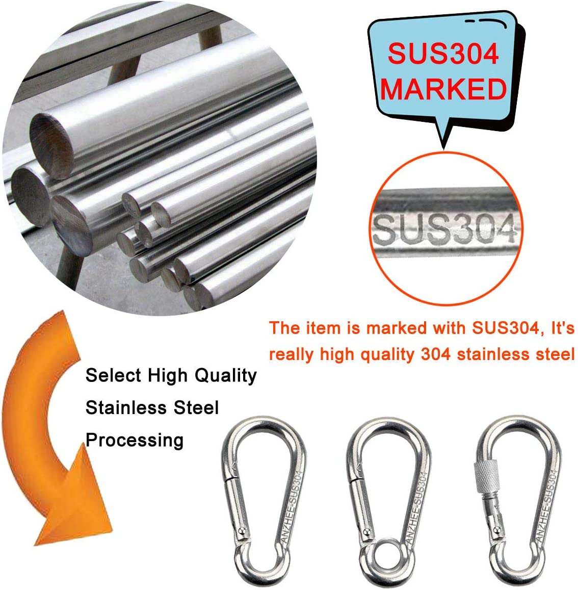 Anzhee Heavy Duty 304 Stainless Steel Carabiner