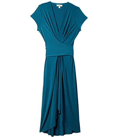MICHAEL Michael Kors Plus Size Cap Sleeve Maxi Wrap Dress (Dark Cyan) Women