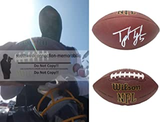 Tyrod Taylor Los Angeles Chargers Autographed Hand Signed NFL Wilson Football with Exact Proof Photo of Signing, Cleveland Browns, Buffalo Bills, Baltimore Ravens, Virginia Tech Hokies, COA