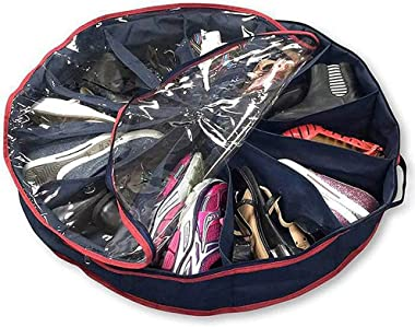 CLOUDTAIL CHOICE 12 Racks Shoe Organizer Round Shape 360 Zipper to Keep Shoes Clean