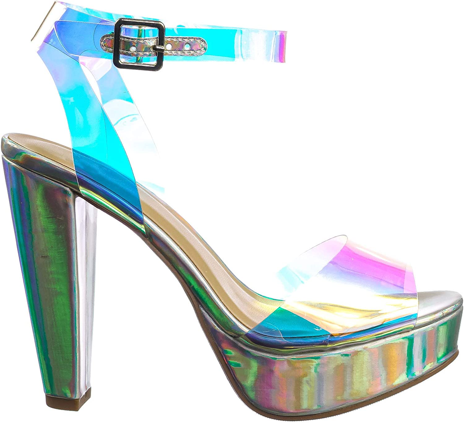 Clear San Diego Mall Lucite Heel Sandal - Pla Transparent Ankle Outstanding Strapped Womens