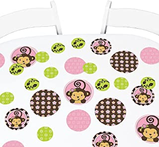 Big Dot of Happiness Pink Monkey Girl - Baby Shower or Birthday Party Giant Circle Confetti - Party Decorations - Large Confetti 27 Count