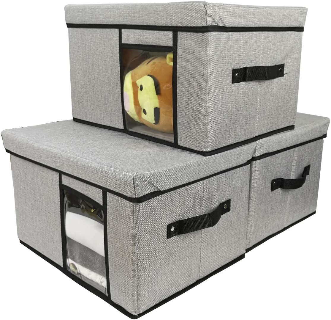 Tuokor Fabric Storage Our shop OFFers Raleigh Mall the best service Bins with Lid Window and Handles Clear 2