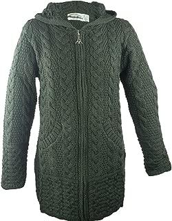 Irish Aran Knitwear 100% Irish Merino Wool Women's Long Hooded Coat with Pockets