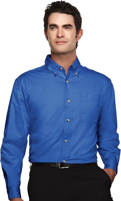 Tri-Mountain Men's Ambassador Easy Care Twill Dress Shirt (7 Colors, S-6XLT)
