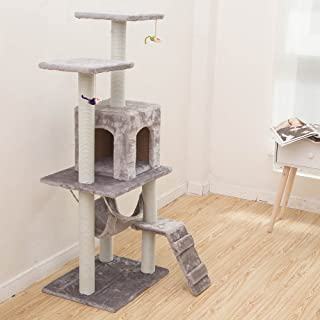 4.1ft (125cm) Cat Tree Tower Cat Tree House Cat Tree Condo Furniture Scratch Post for Kittens Pet House Play Wood Rattan P...