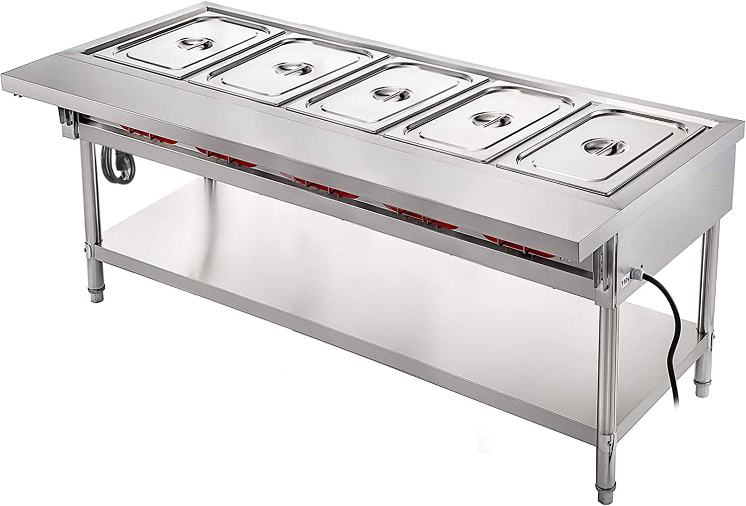 VBENLEM Commercial OFFicial site Electric Food Warmer Table Special price for a limited time Steam 5 W Pot