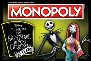 Monopoly Disney Nightmare Before Christmas 25 Years Board Game | 25th Anniversary Collector's Edition | Collectible Monopoly Tokens