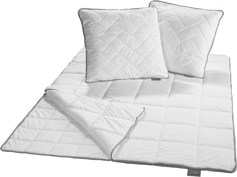 Traumnacht TopCool Bettenset, 4-Jahreszeiten, 1x teilbare Bettdecke Bettdecke Bettdecke 220 x 240 cm und 2x Kopfkissen 80 x 80 cm, weiß B07GNTHSQ7 55da8f