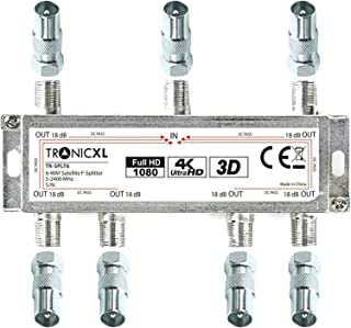 TronicXL - Distribuidor de cable para televisión (6 salidas, BK, adaptador, distribuidor de antena, DVBC, hd, compatible c...