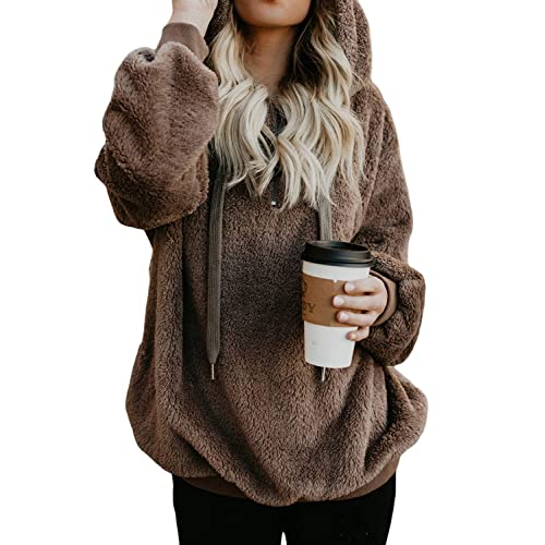 FIYOTE Womens Fuzzy Fleece Casual Loose Sweatshirt Hooded Pullover Outwear Jumpers, Cardigans & Sweatshirts