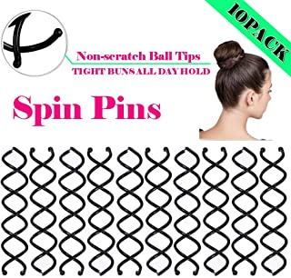 10PCS Spiral Hair Pins,  Non-Scratch Ball Tips Screw Pins for DIY Hair Style (Black)