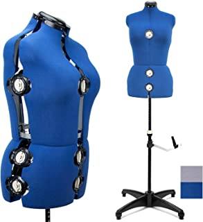 """Blue 13 Dials Female Fabric Adjustable Mannequin Dress Form for Sewing, Mannequin Body Torso with Tri-Pod Stand, Up to 70"""" Shoulder Height (Medium)"""