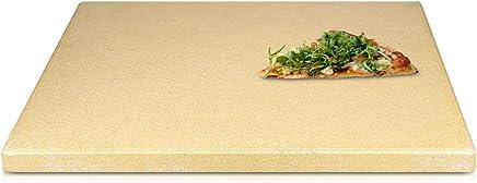 Navaris Pierre à Pizza pour Four XL - Pierre Pizza Rectangulaire 38 x 30 cm Cordiérite - pour Four Traditionnel au Bois Barbecue Grill et Charbon