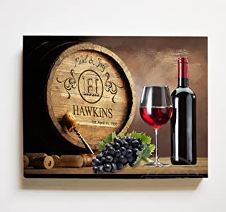MuralMax Personalized Napa Valley Wine Barrel Canvas Wall Decor - Milestone for Parents, Grandparents, Newlyweds, Bridal Showers, Office Retirement Parties - Size-30x24