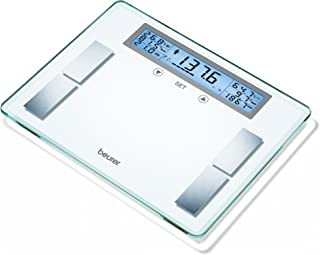 Beurer Body Analyzer Scale XXL Extra Wide Platform & LCD Illuminated Display, 5 Activity Levels, Multi-User Weight Management Scale Calculates BMI, Heavy Duty, 440 lb. Capacity, 10 User Slots, BF520