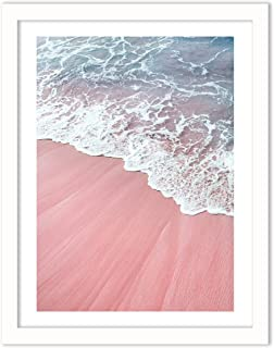 Humble Chic Framed Wall Decor - Fine Art Picture Poster Prints in White Frame for Home Decorations Living Dining Room Bedroom Kitchen Bathroom Office - Pink Sand Beach Waves, 18x24 Vertical