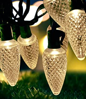MOWASS C9 Christmas String Lights,Warm White String Light,16.6ft LED Roofline Light String,Waterproof Plug in String Light for Bedroom Patio Garden Party Wedding Patio Christmas Xmas Tree Decoration