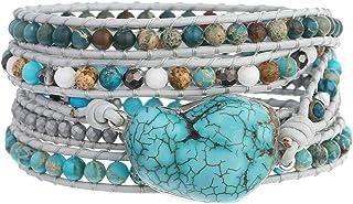 Plumiss Women Boho Handmade Stone Wrap أساور متنوعة خرز ستراند سوار للرجال مجموعة