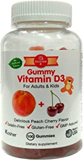 Gummy Vitamin D for Adults & Kids - Delicious Peach Cherry Gummy Bear Vitamin D3 - Kosher Certified Gluten Free No Artific...