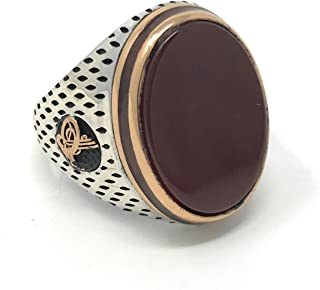 KAR 925K Stamped Sterling Silver Agate (Aqeeq) Ottoman Men's Ring K51C