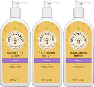 Burt's Bees Baby Nourishing Lotion, Calming Baby Lotion - 12 Ounce Bottle (Pack of 3)