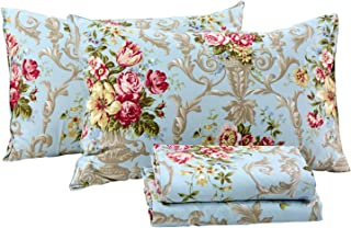 FADFAY Shabby Floral Bedding Elegant Peony Sheets Set Luxury Bedding Collections 800 Thread Count 100% Egyptian Cotton Deep Pocket, 4 Piece-King Size