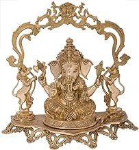 Superfine Bejewelled Ganesha on a Kirtimukha Topped Yali Throne - Brass Statue