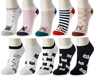 10 Pairs Novelty Cat Socks for Women - Thin Causal Women and Girls Fun Low Cut Cotton Socks