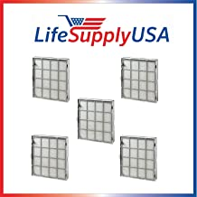 LifeSupplyUSA Complete Cassette Replacement Cartridge Filter Sets (5) Compatible with Kenmore EnviroSense Air Cleaner Model 85500, Part # 85510