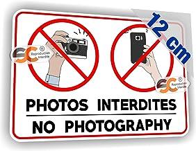 Largeur 12 cm//Hauteur 8 cm Sticker//Autocollant Photos interdites Appareil Photo Interdit Smartphone Selfie