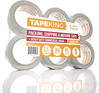Tape King Clear Packing Tape - 60 Yards Per Roll (6 Refill Rolls) - 2 Inch Wide Stronger 2.7mil, Heavy Duty Sealing Adhesive Industrial Depot Tapes for Moving Packaging Shipping, Office & Storage