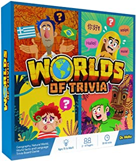 Worlds of Trivia - Geography Board Game for Teens, Family & Adults - Flags & Capitals, US States, Animal Kingdom, World Re...