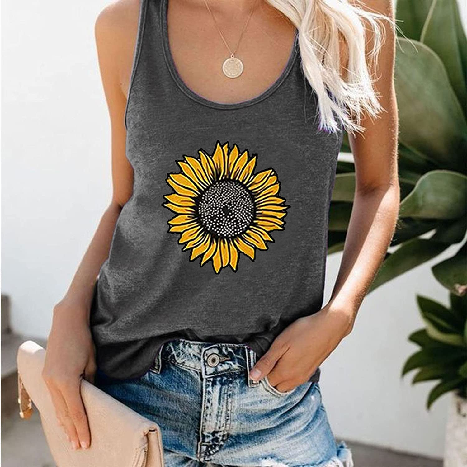 Womens Tank Tops Summer T Shirts Sleeveless Casual Loose Tunic Blouses Sunflower Graphic Tees Workout Athletic Yoga Vest