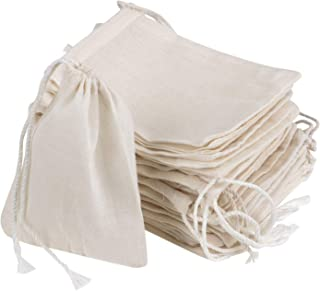 AKOAK 20 Pcs 4 x 3 Inches Muslin Drawstring Bags,Natural Unbleached Cotton Spice/Tea/Herbs Bags