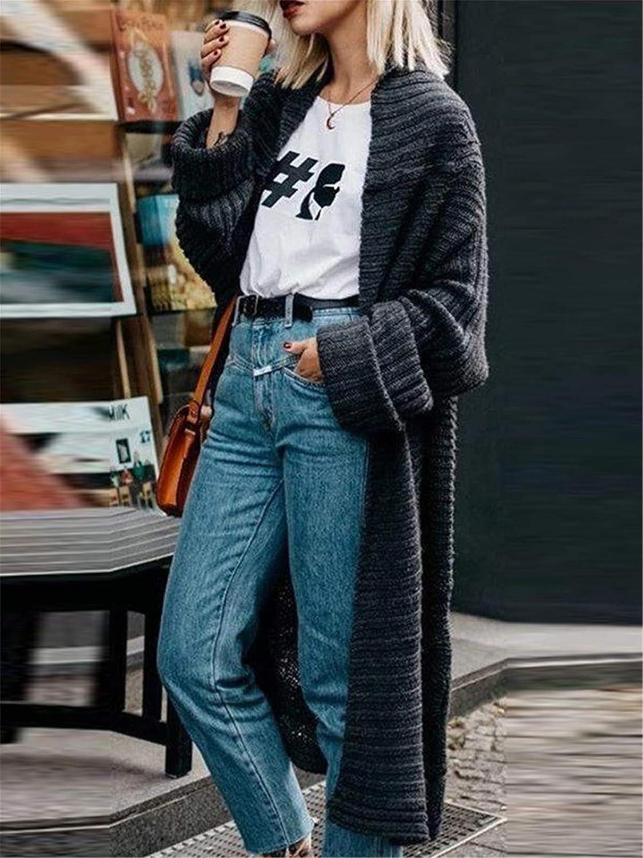 Onsoyours Zopfmuster Laternenärmel Oversize Grobe Cardigan Strickjacke Lang Sweater Damen Mode Mantel Z Schwarz