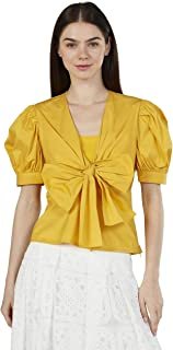 Iconic Women's 2091055 SS23VOLSLVTP Woven Body Blouse, Yellow