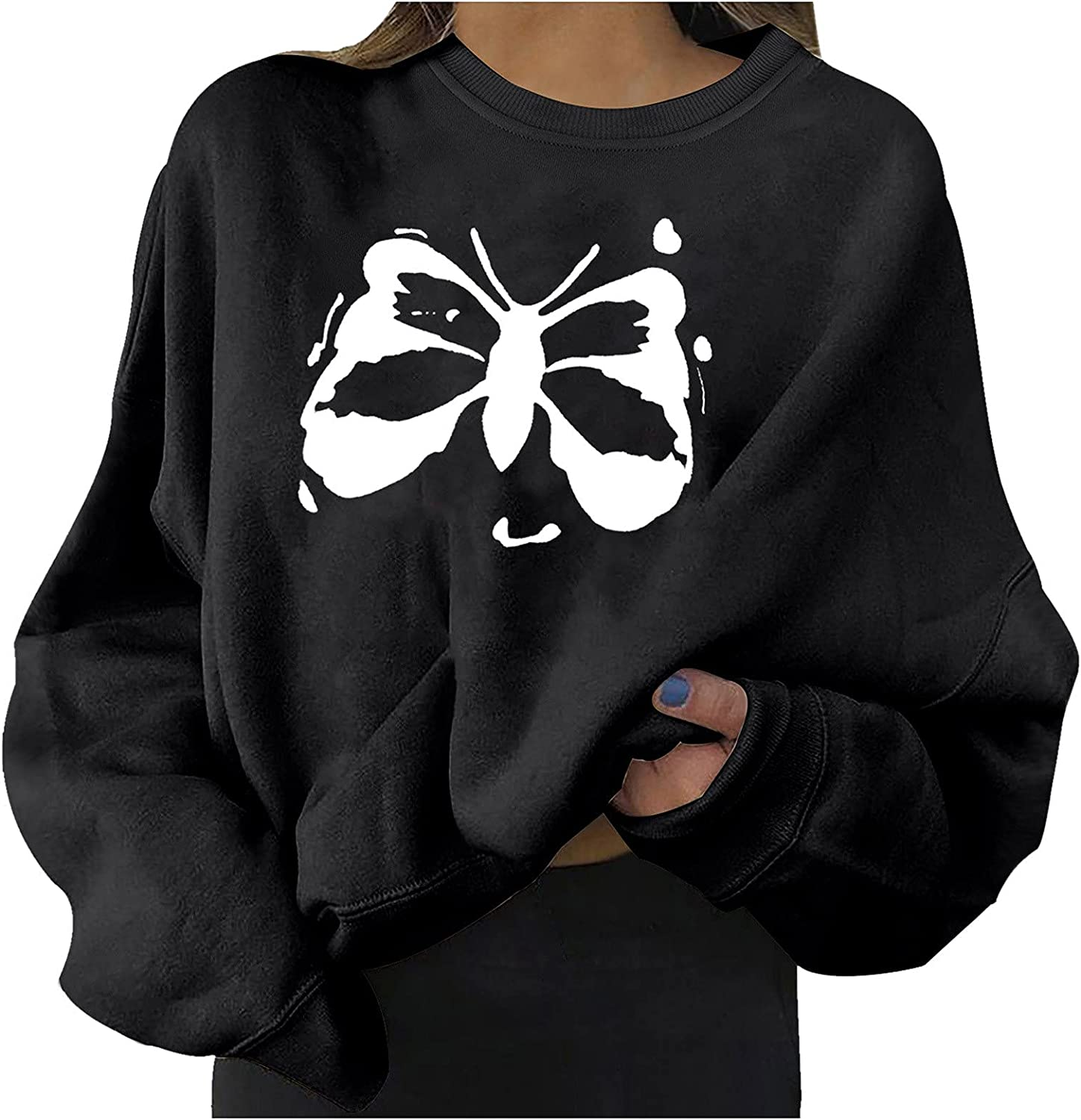 Womens Butterfly Printted Pullover Jumper Plus Size Baggy Solid Lantern Long Sleeve Sweatshirt Blouse Tops