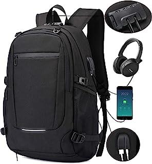 Mochila antirrobo, Unisex Mochila impermeable con puerto de carga USB Interfaz para auriculares y bloqueo con contraseña c...