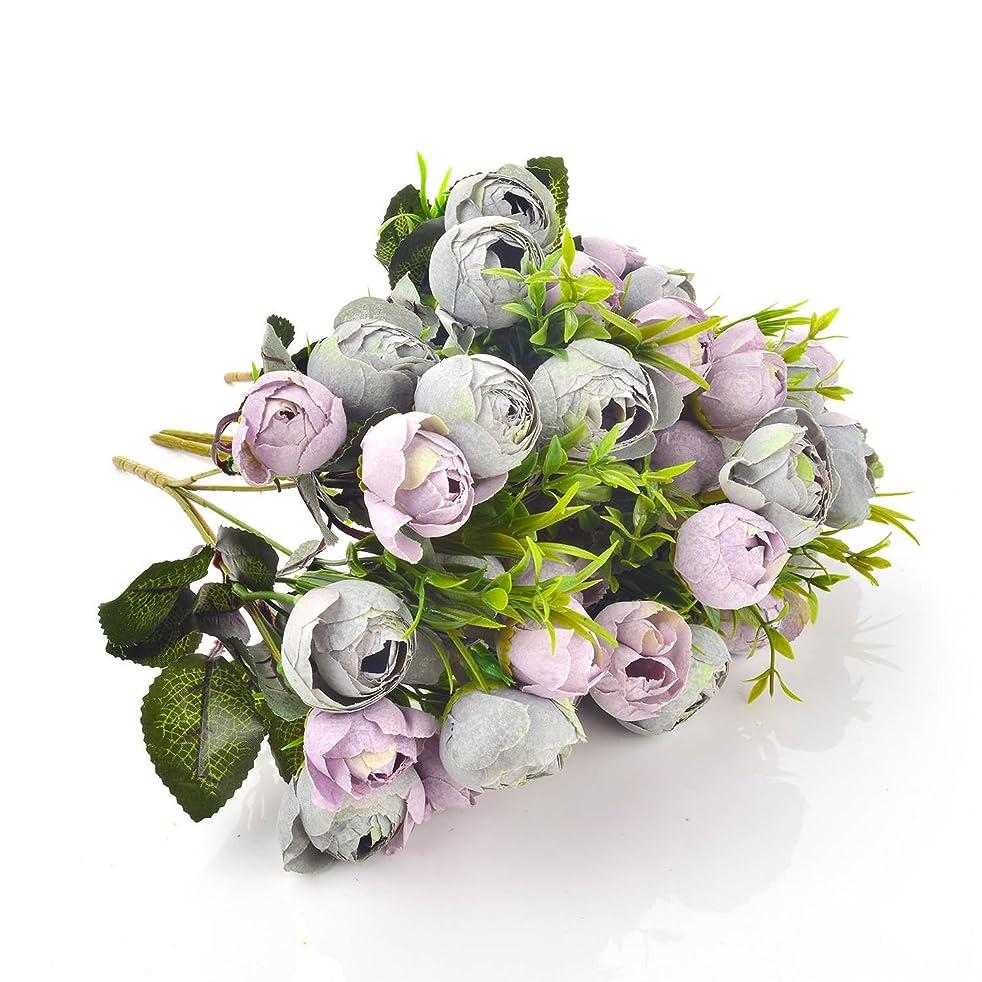 Dapeng 2 Pack of 10 Heads Artificial Silk Fake Flowers Leaf Rose Wedding Floral Decor Bouquet (Grey)