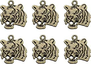 TENDYCOCO 20pcs Tiger Head Pendant Charms for Necklace Bracelet DIY Jewelry Making Accessories (Bronze)
